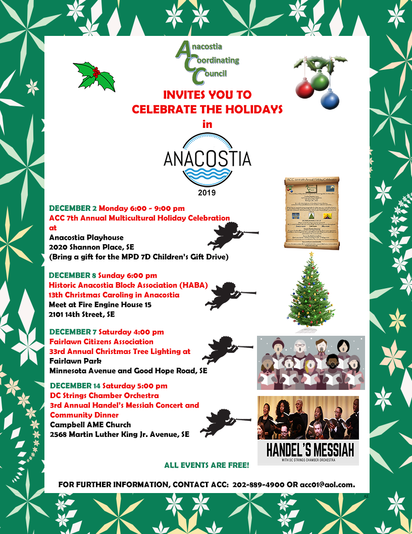 Christmas Events Dc 2019.Upcoming Acc Events Anacostia Coordinating Council