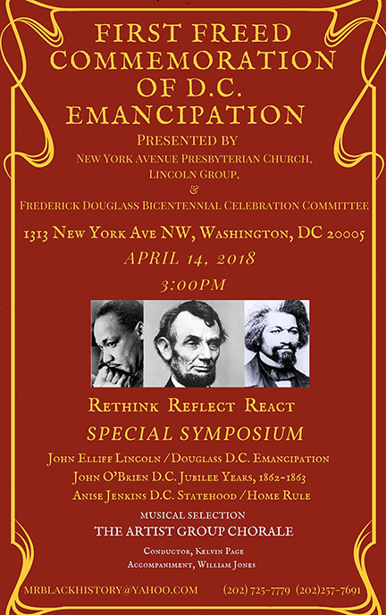 Flier for First Freed Commemoration of DC Emancipation 4/14/2018