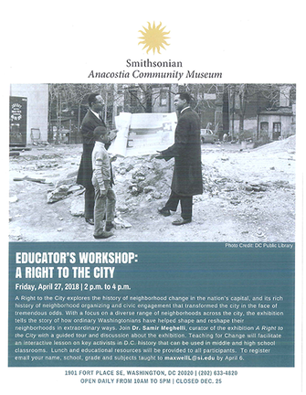 Educator's Workshop: A Right to the City - 04-27-2018