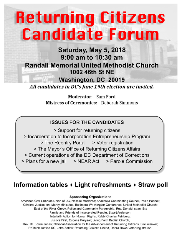 Returning Citizens Candidate Forum 05-05-2018 9am